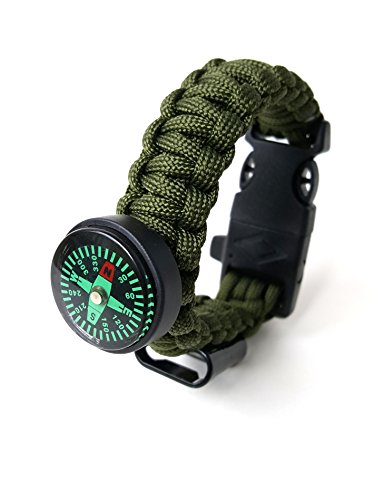 Off-Grid Gear - 6-IN-1 Survival Paracord Bracelet with Updated Compass, Knife/Scraper tool, Flint & Bottle Opener - Super Strong 550 Pound Paracord - 100% LIFETIME GUARANTEE - (Army Green )