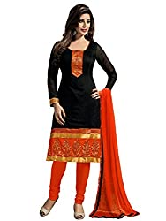 Galaxy Women's Printed Chanderi Chudidar Black Unstitched Dress Material (Black,Orange)