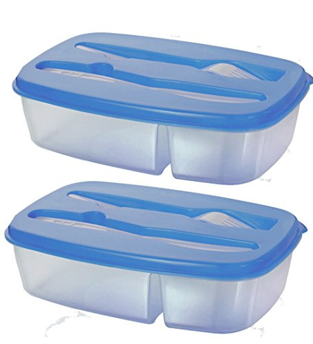 Two-compartment Bento Lunch Box with Fork and Knife Nested Utensils - Stacking Reusable Design - Microwave Safe, Dishwasher Safe (Set