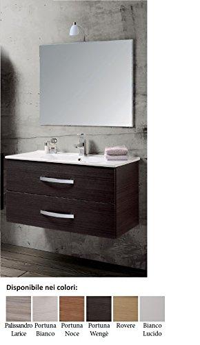 mobile da bagno composizione sospeso con lavabo e Specchio Per Arredo Wenge' moderno