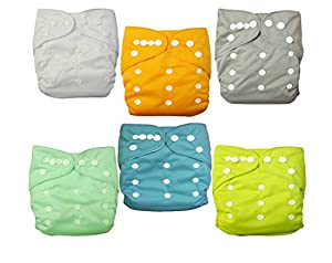 Naturally Nature Cloth Diaper 6pcs Pack Fitted Pocket Washable Adjustable with 2 Inserts Each (6 Assorted Neutral Color)
