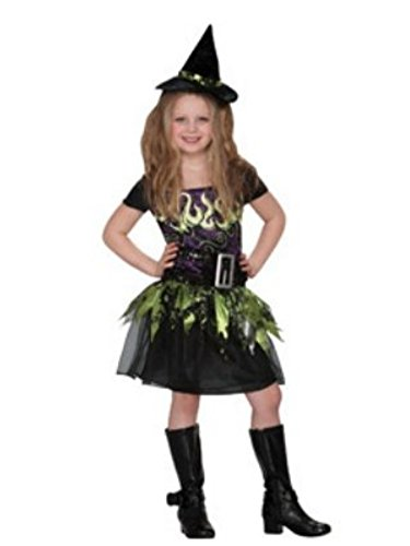 Disguise Girls Witch Costume Spellcaster Witch Dress & Hat Set