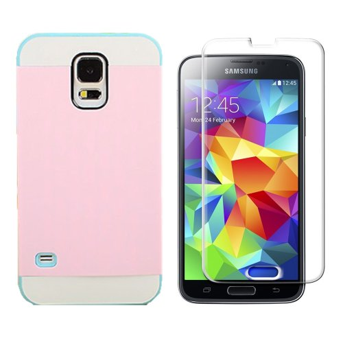 Vandot Mobile Phone Accessory 2in1 For Smasung Galaxy S5 SV I9600 1x Hybrid Protective Hard Back Case Cover Soft Silicone TPU Skin Shell with Transportation Bus Card Pocket + 1x Screen Protector LCD Guard Film - Pink Blue White Contrast Color