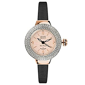 Glam Rock Miami Beach Art Deco collection MBD27181 36mm Stainless Steel Case Black Satin Mineral Women's Watch