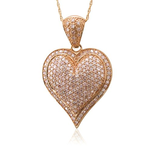 Certified 10k Rose Gold Heart Fancy Light Pink Diamond Pendant Necklace-1.00 carat