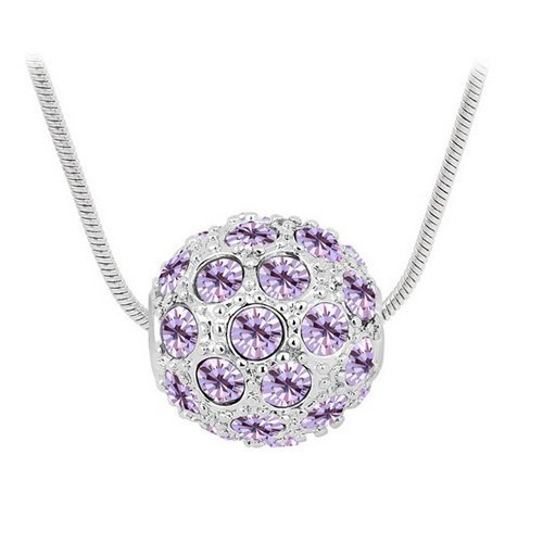 Top Value Jewelry - Beautiful 18K Gold Plated Amethyst Crystal Pave Ball Pendant Necklace, Free 18 Inch Chain
