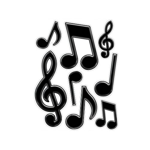 Musical Notes Peel 'N Place (black) Party Accessory  (1 count) (8/Sh)