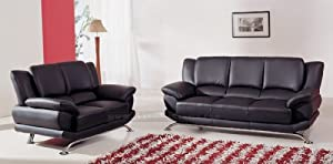Modern Black Leather Living Room Set: Sofa and Loveseat