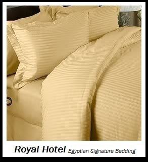Royal Hotel'S California-King Size Striped Gold 300-Thread-Count 3Pc Duvet-Cover-Sets And 1Pc Siberian Goose Down Alternative Comforter 100 Percent Egyptian-Cotton 100% Cotton front-577072