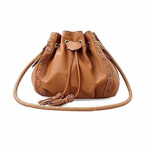 Kingko® Lady spalla della borsa del Tote borsa di cuoio del messaggero delle donne Hobo (Marrone)