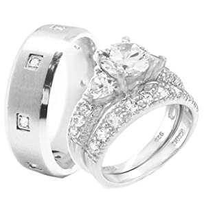 Wedding Ring Set 3 Pieces His & Hers, Men's STAINLESS STEEL & Women's Rhodium Plated STERLING SILVER Heart Engagement Bridal , Men's Sizes 7,8,9,10,11,12, Women's Sizes 5,6,7,8,9,10. CONTACT US BY EMAIL THROUGH AMAZON WITH SIZES AFTER PURCHASE!