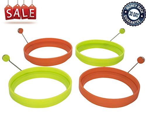 Wishstone Egg Ring Set of 4 - Silicone Egg Poacher Rings Non-stick Fried Egg Pancake Molds for Breakfast Sandwiches Set of 4 Includes 2 Orange and 2 Green Egg Shaper Kitchen Accessories