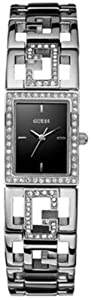 Guess Women's W11545L2 Silver Stainless-Steel Quartz Watch with Black Dial