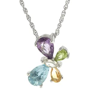Sterling Silver Blue Topaz, Amethyst, Citrine and Peridot Necklace, 18""