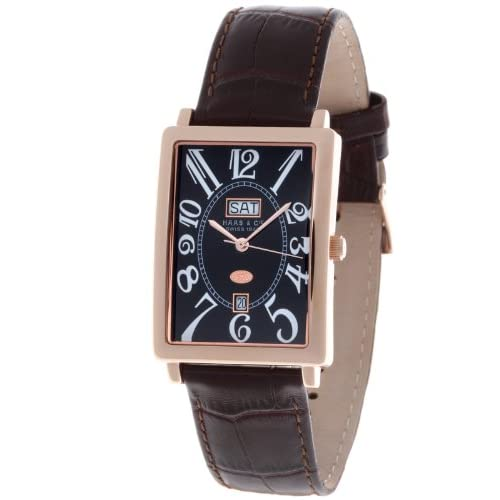 Haas-Cie-Mens-Quartz-Watch-with-Black-Dial-Analogue-Display-and-Brown-Leather