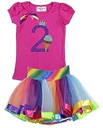 Bubblegum Divas Little Girls\' 2nd Birthday Ice Cream Cone Shirt Rainbow Tutu Outfit 3T