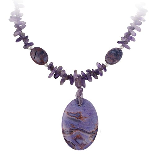 Sterling Silver Bead, Amethyst Chip and Purple Crazy Lace Agate Oval Disc Necklace, 16+3