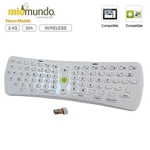 MioMundo - Mini teclado tablet / smart TV inalámbrico. Compatible con tablets Android y cualquier dispositivo remoto como portátiles, video consolas o Smart TV. Más de 50h de uso ininterrumpido, color blanco.