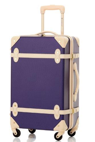 [トラベルハウス] 超軽量 トランクスーツケース ファスナー開閉式 南京錠付き (S, Deep purple And Ivory)