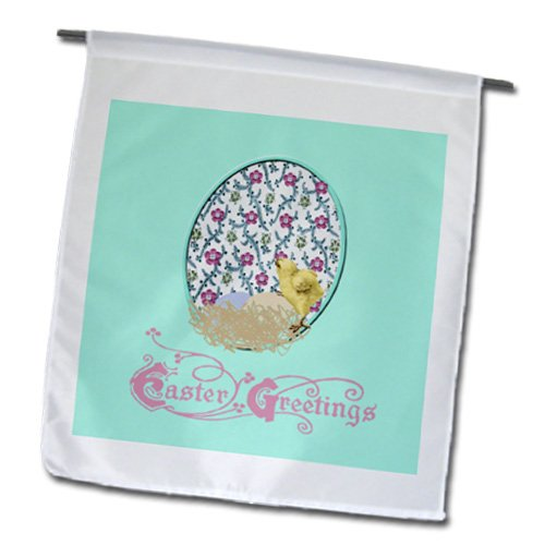 Fl_174114_1 Beverly Turner Easter Design And Photography - Little Yellow Chick, Nest Of Eggs, Flowered Background, Yellow, Pink, Green - Flags - 12 X 18 Inch Garden Flag front-284569