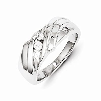 Solid 14k White Gold Diamond Mens Wedding Ring Band (1/4 cttw) (9mm)