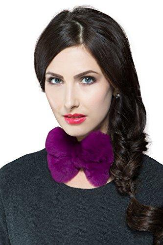 Adrienne Landau Women'S Magenta Rex Rabbit Fur Bow Tie Osfm Pink