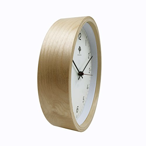 Hippih Silent Wall Clock Wood 8-inches Non Ticking Digital Quiet Sweep Decorative Vintage Wooden Clocks(white) 4