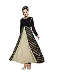 Aarti Saree Trendy Fashionable Black And Beige Straight Suit With Heavy Embroidery Work