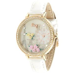 Ufingo-de cuarzo resistente al agua reloj creativo de/niñas/mujeres-blanco correa de cuero 3d flor de línea torre tema dama por MN reloj by Ufingo