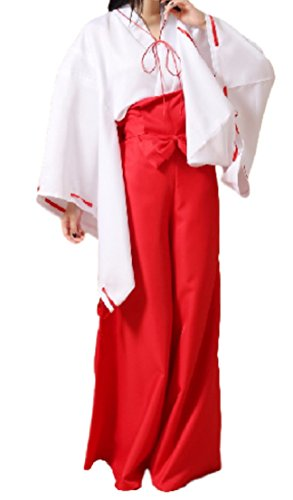 PEPUJP Japanese Shaman Cosplay Costume Kimono Shrine Anime Character Halloween (L) (White Nail Polish Essie compare prices)