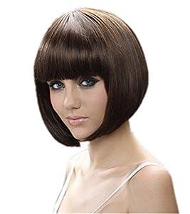 Whatabeautifullife - Short Brown Black Mix Bob Natural As Real Hair Wig+wig Cap