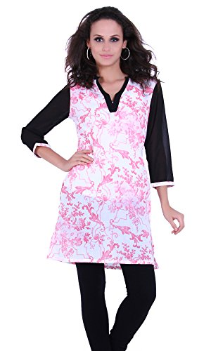 Indi Dori Women's 100% Cotton Flower Pink Printed Kurti X-Large Pink (multicolor)
