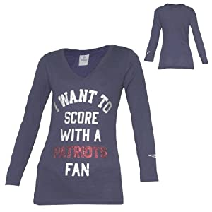 NFL NEW ENGLAND PATRIOTS Ladies Slim Fit Long Sleeve T Shirt With Sequins by NFL