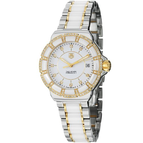 Tag Heuer Formula 1 White Diamond Dial Steel and Ceramic Ladies Watch WAH1221BB0865