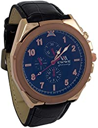 Addic EWWE Dark Blue Circular Dial With Light Brown Bezel And Black Leather Strap Watch For Men (82)
