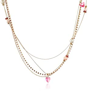 """Betsey Johnson """"Iconic Pinkalicious"""" Faux Pearl Multi-Chain Long Necklace, 39"""" at Sears.com"""