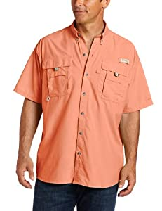 Columbia Men's Bahama II Short Sleeve Shirt, Bright Peach, Small