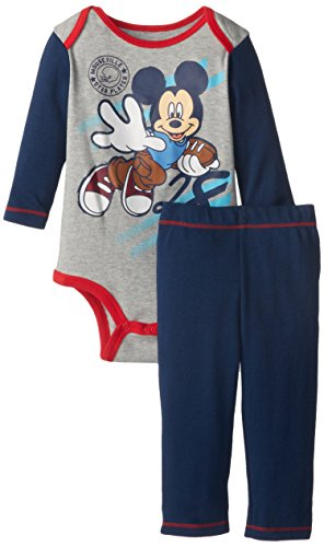 Disney Baby Baby-Boys Newborn Mickey Mouse Bodysuit And Pant Set, Gray, 6-9 Months front-633021