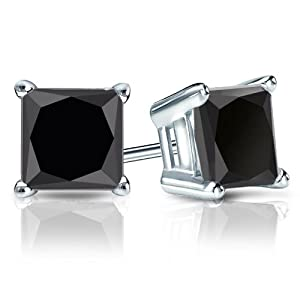 PARIKHS Princess Cut Black Diamond Stud AAA Quality in White Gold (0.12ct)
