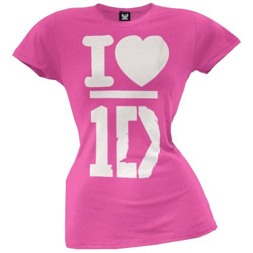 One Direction Pink Heart Girls T-Shirt Size : Large