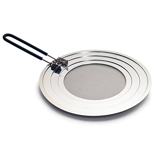 Splatter Screen Guard with Folding Soft Silicone Handle and Stainless Steel Universal Lid for Pots and Frying Pans (Folding Frying Pan compare prices)