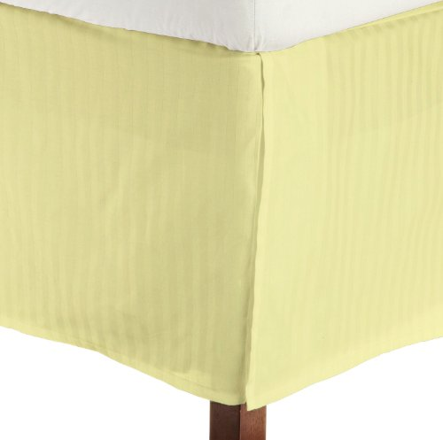 "Short Queen Size 600 Thread Count 100% Egyptian Cotton Tailored Bedskirt Fitts Upto 17"" Drop Striped -Yellow Created By Fantasy Nap"