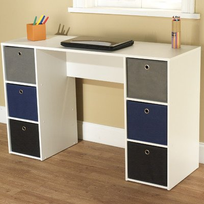 Writing Desk With 6 Bins Bin Color: Blue / Black / Gray front-571330