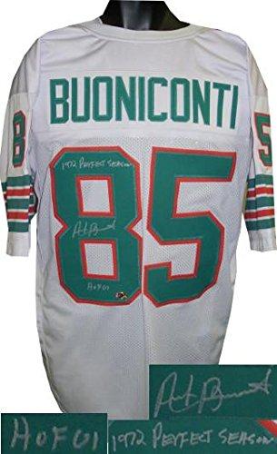 Signed Nick Buoniconti Jersey - White TB Prostyle Dual HOF 01 & 1972 Perfect Season - Autographed NFL Jerseys