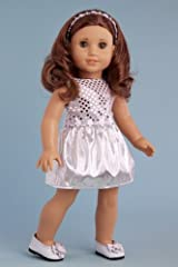Twinkle Star - Silver Party Dress with Matching Headband and Silver Slippers - 18 Inch American Girl Doll Clothes