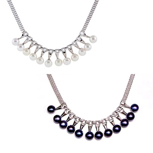 Blue Pearls - Cultured Pearl and White Gold plated Necklace - Black BPS 1002 O