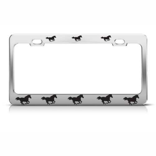 Horses On Move Animal Metal Chrome License Plate Frame Tag Border