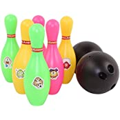 Happy Cherry Kids Pretend Play Bowling Game Toy 8 Piece Toy Bowling Set, Comes With 6 Pins, 2 Bowling Balls