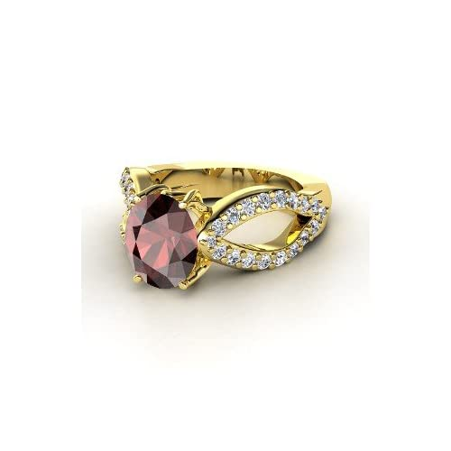 Ring, Oval Red Garnet 18K Yellow Gold Ring with Diamond Jewelry