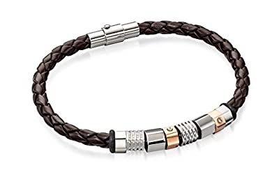 Fred Bennett Stainless Steel for Men's Stainless Steel Brown Leather Bracelet with Steel and RG Beads of 20cm